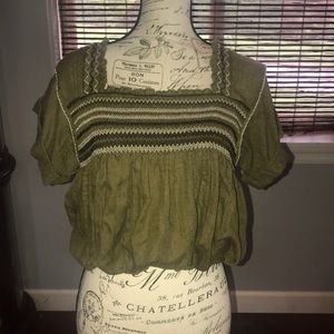 Free people blouson embroidered cropped shirt xs